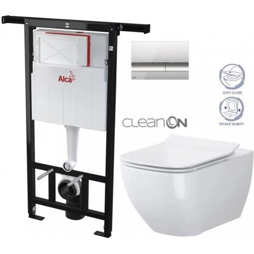 ALCAPLAST - SET Jádromodul - předstěnový instalační systém + tlačítko M1721 + WC OPOCZNO CLEANON METROPOLITAN + SEDÁTKO (AM102/1120 M1721 ME1)