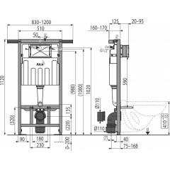 ALCAPLAST - SET Jádromodul - předstěnový instalační systém + tlačítko M1721 + WC CERSANIT PRESIDENT + SEDÁTKO (AM102/1120 M1721 PR1)