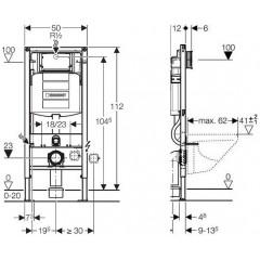 GEBERIT - SET Duofix pro závěsné WC 111.300.00.5 bez ovládací desky + WC TESI RIMLESS (111.300.00.5 TE2)