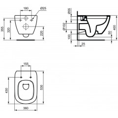 LAUFEN - Podomít. systém LIS TW1 SET + ovládací tlačítko CHROM + WC TESI RIMLESS (H8946630000001CR TE2)