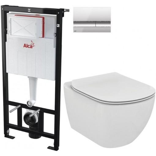 ALCAPLAST - Sádromodul - předstěnový instalační systém + tlačítko M1721 + WC TESI (AM101/1120 M1721 TE3)