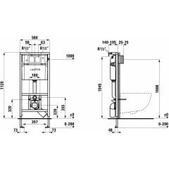 LAUFEN - Rámový podomítkový modul CW1 SET + ovládací tlačítko CHROM + WC TESI (H8946600000001CR TE3)