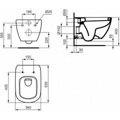 LAUFEN - Podomít. systém LIS TW1 SET + ovládací tlačítko CHROM + WC TESI (H8946630000001CR TE3)