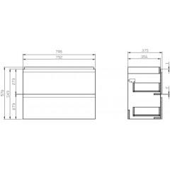 CERSANIT - SET 979 MODUO SLIM 80 BÍLÁ DSM (SKŘÍŇKA + UMYVADLO) (S801-225-DSM)
