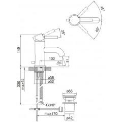 STEINBERG - Umyvadlová páková baterie, chrom s výpustí (100 1000)