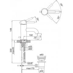 STEINBERG - Umyvadlová páková baterie s výpustí, černá mat (100 1000 S)
