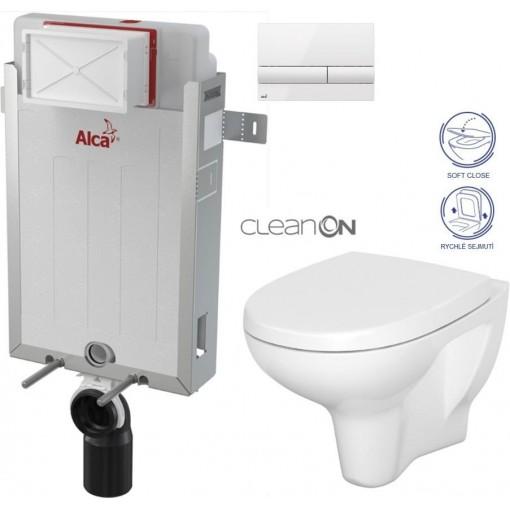 ALCAPLAST - SET Renovmodul - předstěnový instalační systém + tlačítko M1710 + WC CERSANIT ARTECO CLEANON + SEDÁTKO (AM115/1000 M1710 AT1)