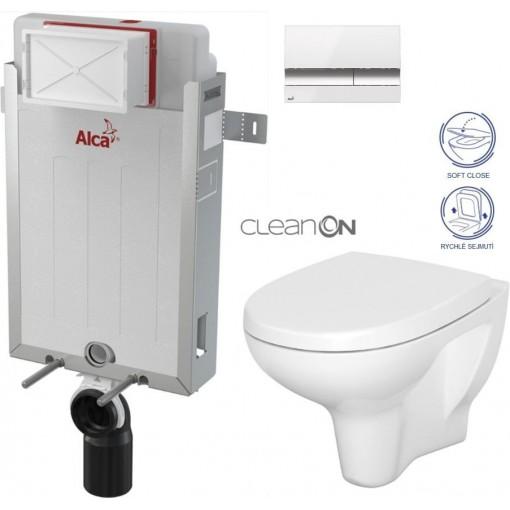 ALCAPLAST - Renovmodul - předstěnový instalační systém + tlačítko M1720-1 + WC CERSANIT CLEANON ARTECO CLEANON + SEDÁTKO (AM115/1000 M1720-1 AT1)