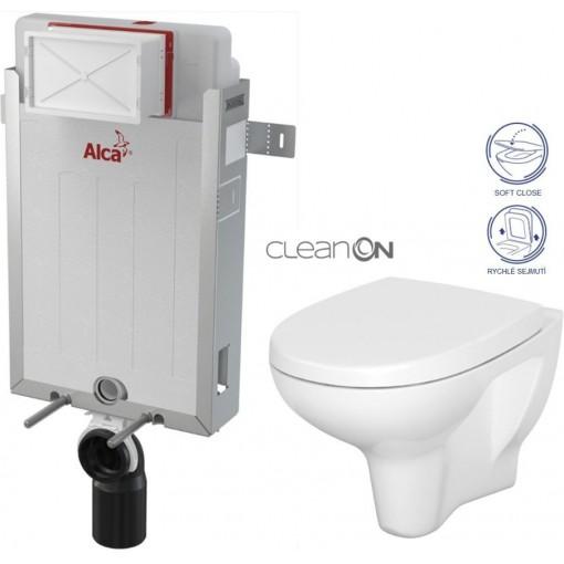 ALCAPLAST Renovmodul - předstěnový instalační systém bez tlačítka + WC CERSANIT ARTECO CLEANON + SEDÁTKO (AM115/1000 X AT1)