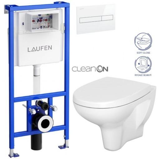 LAUFEN - Rámový podomítkový modul CW1 SET BÍLÁ + ovládací tlačítko BÍLÉ + WC CERSANIT ARTECO CLEAN ON + SEDÁTKO (H8946600000001BI AT1)