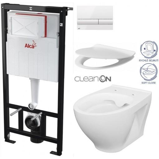 ALCAPLAST Sádromodul - předstěnový instalační systém s bílým tlačítkem M1710 + WC CERSANIT CLEANON MODUO + SEDÁTKO (AM101/1120 M1710 MO1)