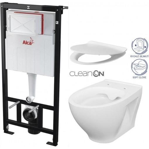 ALCAPLAST - Sádromodul - předstěnový instalační systém + WC CERSANIT CLEANON MODUO + SEDÁTKO (AM101/1120 X MO1)