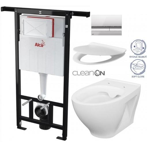 ALCAPLAST - Jádromodul - předstěnový instalační systém + tlačítko M1721 + WC CERSANIT CLEANON MODUO + SEDÁTKO (AM102/1120 M1721 MO1)