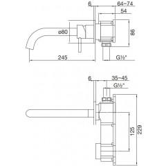 STEINBERG - Umyvadlová podomítková páková baterie s výtokem 245mm, bez tělesa, černá mat (100 1824 S)