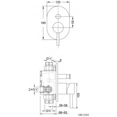 STEINBERG - Podomítková páková baterie pro vanu/sprchu s přepínačem, černá mat 100 2103 S