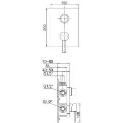 STEINBERG - Podomítková páková baterie 3-cestná /bez tělesa/, chrom (230 2202 1)