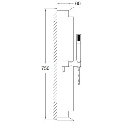 STEINBERG - Sprchová souprava 750 mm /ruční sprcha, kovová hadice 1800 mm/, chrom (100 1605)