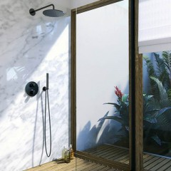 STEINBERG - Sprchová souprava, černá mat (držák ruční sprchy s přívodem vody, ruční sprcha, plastová hadice) (100 1670 S)
