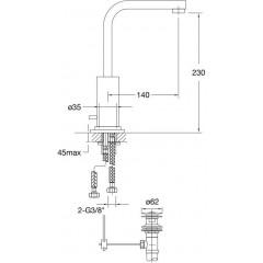 STEINBERG - Umyvadlová páková baterie s výpustí, chrom (120 1500)
