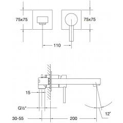STEINBERG - Nástěnná umyvadlová baterie včetně montážního tělesa, chrom (120 1816)