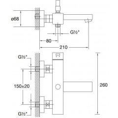 STEINBERG - Nástěnná vanová baterie s přepínám (120 1100)