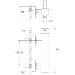 "STEINBERG - Nástěnná sprchová baterie 1/2"" (120 1200)"