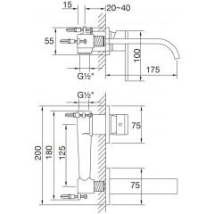 STEINBERG - Nástěnná umyvadlová baterie včetně podomítkového tělesa, chrom (135 1803)