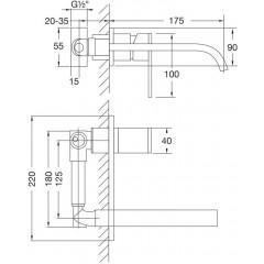 STEINBERG - Nástěnná umyvadlová baterie včetně podomítkového tělesa, chrom (135 1853)