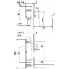 STEINBERG - Podomítková umyvadlová baterie 2-otvorová bez montážního tělesa, chrom (160 1804)