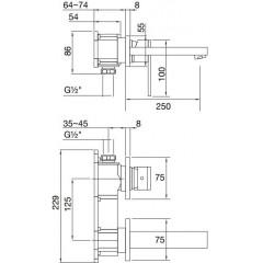 STEINBERG - Podomítková umyvadlová baterie 2-otvorová bez montážního tělesa, chrom (160 1824)