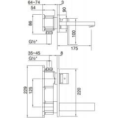 STEINBERG - Podomítková umyvadlová baterie 2-otvorová bez montážního tělesa, chrom (160 1854)