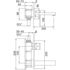 STEINBERG - Podomítková umyvadlová baterie 2-otvorová bez montážního tělesa, chrom (160 1864)