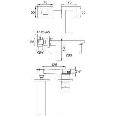 STEINBERG - Podomítková umyvadlová baterie 2-otvorová včetně mosazného tělesa, chrom (160 1816)