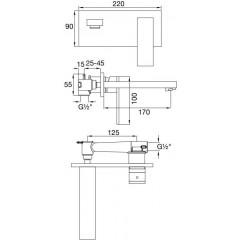 STEINBERG - Podomítková umyvadlová baterie 2-otvorová včetně mosazného tělesa, chrom (160 1852)
