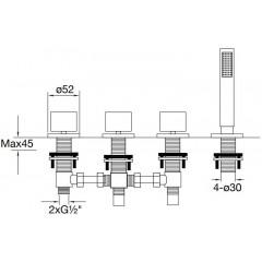 STEINBERG - Baterie na okraj vany 4-otvorová bez montážního tělesa, chrom (170 2480)
