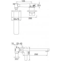 STEINBERG - Podomítková umyvadlová baterie 2-otvorová s mosazným tělesem, chrom (230 1820)