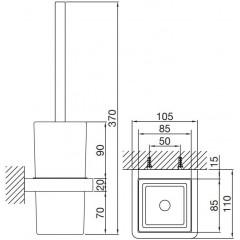 STEINBERG - WC štětka, černé sklo (420 2902)