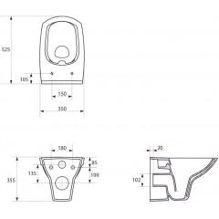 JOMO DUO modul pro závěsné WC bez desky + WC CERSANIT CLEANON CARINA + SEDÁTKO (174-91100700-00 CA1)