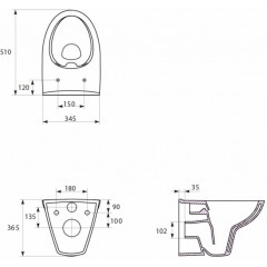 JOMO DUO modul pro závěsné WC bez desky + WC CERSANIT CLEANON PARVA + SEDÁTKO (174-91100700-00 PA1)