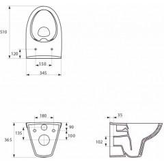 JOMO DUO modul pro závěsné WC s bílou deskou + WC CERSANIT CLEANON PARVA + SEDÁTKO (174-91100900-00 PA1)