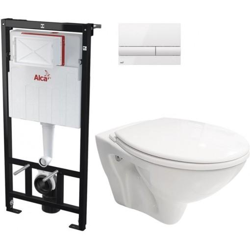 ALCAPLAST - SET Sádromodul - předstěnový instalační systém + tlačítko M1710 + WC CERSANIT MITO + SEDÁTKO (AM101/1120 M1710 MI1)