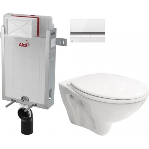 ALCAPLAST - SET Renovmodul - předstěnový instalační systém + tlačítko M1720-1 + WC CERSANIT MITO + SEDÁTKO (AM115/1000 M1720-1 MI1)