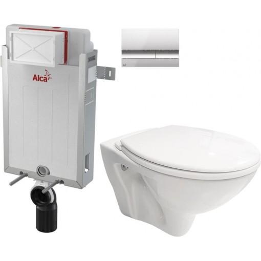 ALCAPLAST - SET Renovmodul - předstěnový instalační systém + tlačítko M1721 + WC CERSANIT MITO + SEDÁTKO (AM115/1000 M1721 MI1)