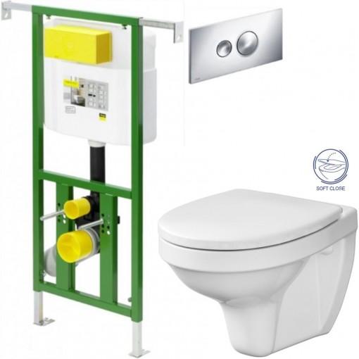 AKCE/SET - Eko PLUS modul do jádra WC čelní ovládání SET + ovládací tlačítko CHROM + WC CERSANIT DELFI + SEDÁTKO SOFT (V622176CR DE2)