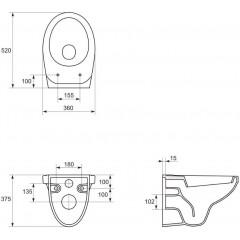 AKCE/SET - SET Kombifix KOMBIFIX ECO pro závěsné WC, nádržka UP 320 bez Ovládací desky + WC CERSANIT DELFI + SOFT SEDÁTKO (110.302.00.5 DE2)