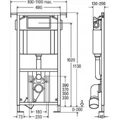 AKCE/SET - Eko PLUS modul do jádra WC čelní ovládání SET + ovládací tlačítko CHROM + WC CERSANIT DELFI (V622176CR DE1)