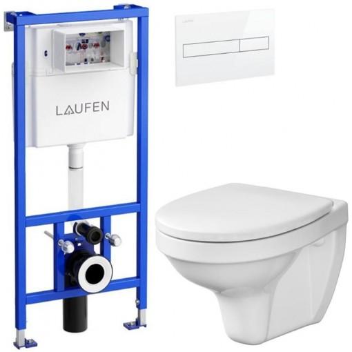 LAUFEN - Rámový podomítkový modul CW1 SET BÍLÁ + ovládací tlačítko BÍLÉ + WC CERSANIT DELFI + SEDÁTKO (H8946600000001BI DE1)
