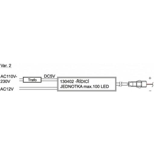 SAPHO - Set řídící jednotky (max. 100 LED) včetně transformátoru a 10m vodiče (130451)