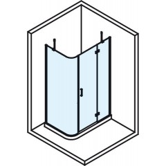 POLYSAN - VITRA LINE zástěna, obdélník, zaobl.roh1000x800mm,pravá,ovál.panty,čiré sklo (BN2218R)