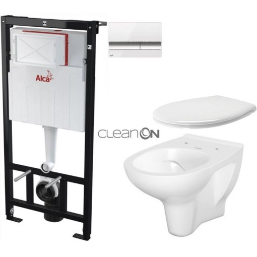 ALCAPLAST Sádromodul - předstěnový instalační systém s bílým/ chrom tlačítkem M1720-1 + WC CERSANIT ARTECO CLEANON + SEDÁTKO (AM101/1120 M1720-1 AT2)